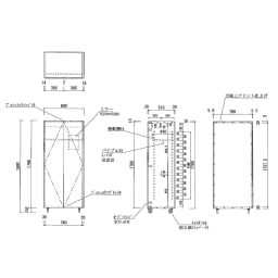 移動式間仕切りクローゼットハンガー ミラー扉タイプ・ハンガー1段 内部の構造図(単位:cm) ※ハンガーパイプ径25mm
