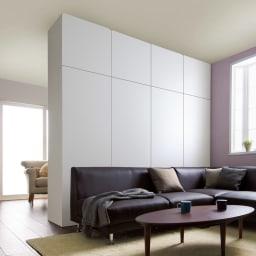 壁面間仕切りワードローブ 棚タイプ・幅80cm コーディネート例(イ)ホワイト(裏面)