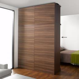 引き戸間仕切りワードローブ ハンガー+棚・幅88cm 背面は間仕切りとして使用出来る、間仕切りパネル構造。