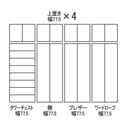 【日本製】シンプルスタイルワードローブ タワーチェスト幅77.5cm奥行56cmタイプ 組み合わせ図