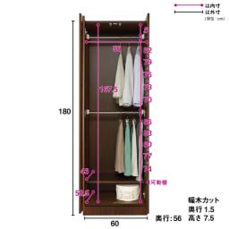 システム壁面ワードローブ ハンガー2段・幅60cm