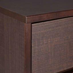 引き出し全開!フルスライドレール付きシンプルチェスト 5段・幅89cm (ア)ダークブラウン 前面は美しい木目柄のシート 小口は天然木(※商品によって色や木目の誤差が多少ございます。)