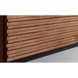 天然木横格子柄のローチェスト 幅120cm奥行44cm・5段 【前板は天然木の格子柄】視覚的に広く見え、和風でも洋風でもなじむ横格子デザイン。