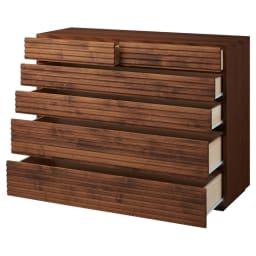 天然木横格子柄のローチェスト 幅120cm奥行44cm・5段 引き出しを開けた状態