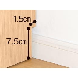 クローゼットスペースをより美しく、より有効利用できる収納シリーズ フルスライドチェスト サイズオーダー幅29~59 幅木があっても壁にぴったり付けて設置可能。