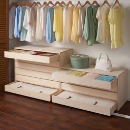 ウォークインクローゼット総桐着物収納シリーズ 引き出し浅4段・高さ51.5cm 衣類から着物まで一式収納。