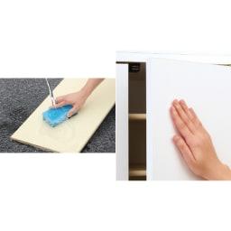 並べても使える 突っ張り式ユニットシューズボックス 天井高さ254~264cm用・幅45cm[紳士靴対応] (写真左)可動棚板は取り外して水洗いのできるプラスチック製。清潔に保てます。(写真右)扉には取っ手のないシンプルなデザイン。扉はプッシュ式開閉です。