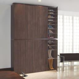 並べても使える 突っ張り式ユニットシューズボックス 天井高さ264~274cm用・幅45cm[紳士靴対応] コーディネート例(ア)ダークブラウン