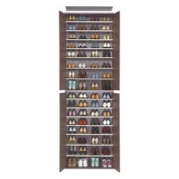 並べても使える 突っ張り式ユニットシューズボックス 天井高さ264~274cm用・幅80cm[紳士靴対応] (ア)ダークブラウン