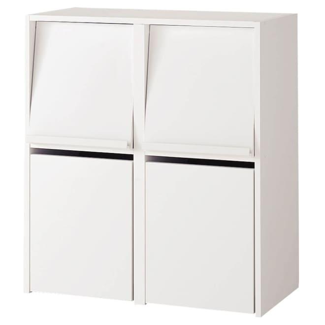 奥行39cm マガジン&レコードキャビネット ベース ボックスタイプ2列[高さ85・幅75.5cm] (イ)ホワイト