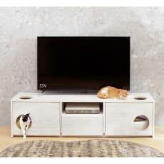 猫トイレを目隠しできる!ネコのくつろぎスペース付きテレビ台 幅180cm