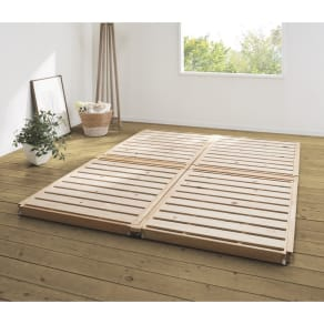 組立不要【幅108cm お得な2台セット(幅216)】ぴったり並べられる折りたたみ ひのきすのこベッド 写真