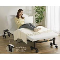 組立不要軽々折りたたみ高反発マットレス電動ベッド