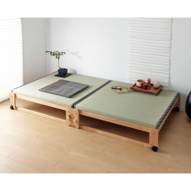 畳空間を簡単に演出できる折りたたみベッド(棚なし) 畳スぺ―スが簡単にできる折りたたみベッドです。 (イ)ナチュラル ※写真はワイドシングルです。