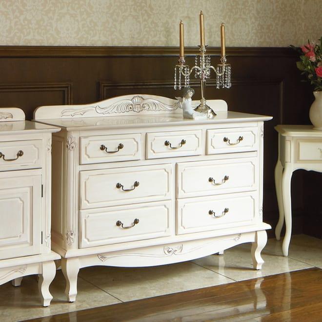 アンティーク調クラシック家具シリーズ チェスト・幅110cm フレンチアンティークの様にインテリアに映えるホワイト家具。お部屋のエレガントなインテリアとして。