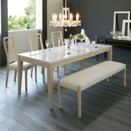 光沢が美しい 伸長式 モダンダイニング お得な4点セット(ダイニングテーブル+チェア2脚+ベンチ大) テーブル180cm伸長時 ※お届けはダイニング4点セット(ダイニングテーブル、チェア2脚、ベンチ大)です。