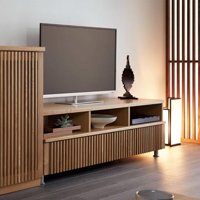 和モダン 格子リビング収納シリーズ テレビ台 幅150cm 使用イメージ(ア)ナチュラル