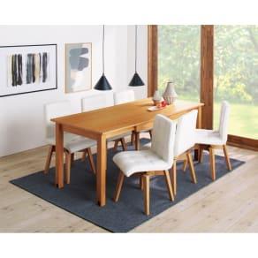 ナチュラルモダン天然木伸長式ダイニング オーク お得な5点セット(テーブル幅135・180cm+回転チェア4脚) 写真