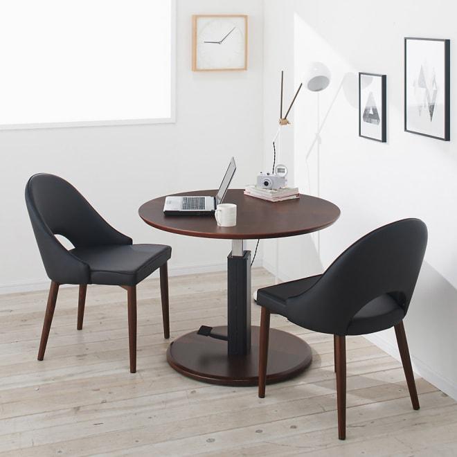 高さ自由自在!カフェスタイルダイニング 丸形昇降テーブル単品・径90cm ダークブラウン ワークデスク、カフェテーブルとしても活躍します。※テーブル高さ60cmで撮影。