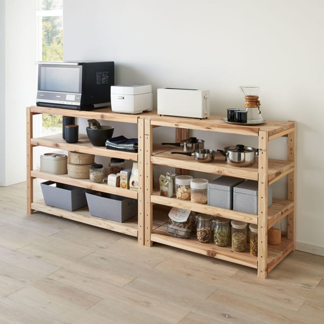 国産杉の飾るキッチンシリーズ キッチンラック・ロー 幅89奥行51cm コーディネート例 ※お届けは幅89奥行51cmタイプです。