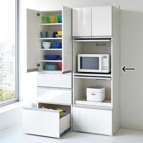 組立不要!家電を隠せるキッチン収納シリーズ レンジラック幅59.5cm 写真
