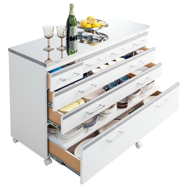 収納しやすいステンレストップカウンター 引き出しタイプ幅118cm ≪使用例≫お届けする商品の使用例です。※食器などの小道具は含まれません。
