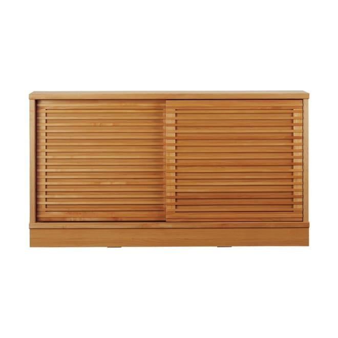 アルダー格子引き戸収納庫 幅150cm奥行25cm 横格子デザインで、お部屋のインテリアにアクセントを。
