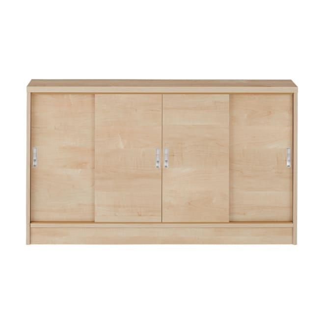 1cmピッチで棚板調整カウンター下引き戸収納庫 幅120cm(4枚扉) 奥行21.5cm・高さ70cm (イ)ナチュラル