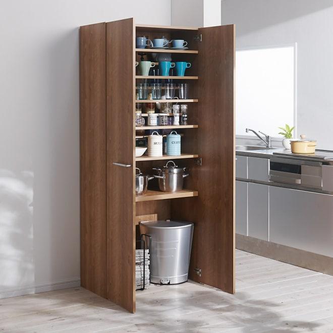 食器からストックまで入るキッチンパントリー収納庫 幅75奥行40cm (ア)ブラウン 食器や鍋・新聞などストックものまでひとまとめ!