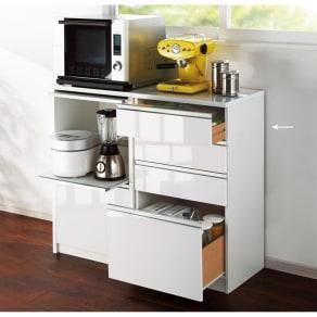 隠せるキッチンラック シンプルキッチンストッカーカウンター 高さ102cm 写真