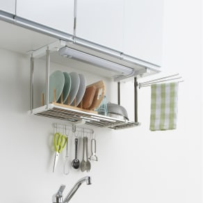 《1段タイプ》はさむだけで取り付けラクラク 幅伸縮キッチン戸棚下収納 写真