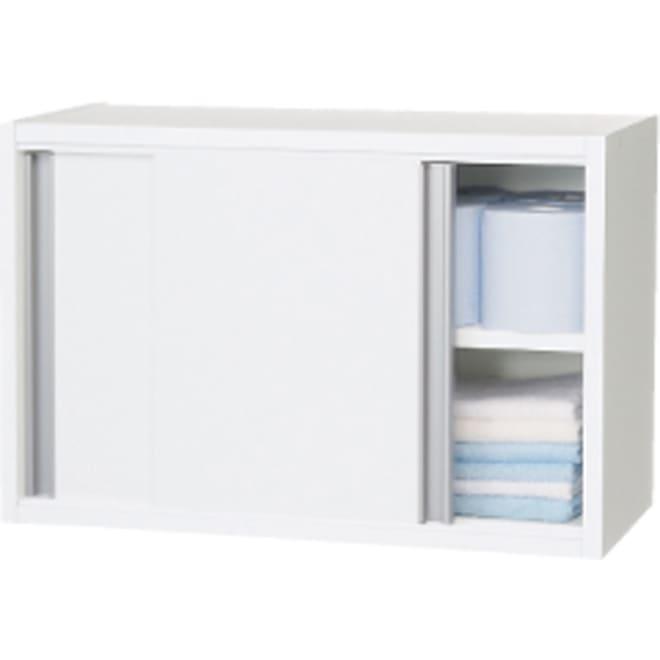 光沢仕上げ吊り戸棚 引き戸タイプ 幅60cm 吊り戸棚を使って狭いスペースでも効率的な収納ができます。 引き戸式なので、開閉時のスペースも不要です。