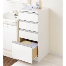 水回りでも安心の光沢洗面所チェスト ロータイプ・幅44.5cm