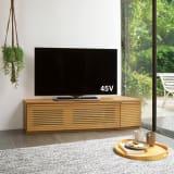 大型テレビが見やすい天然木格子コーナーテレビ台 幅135cm 右コーナー(右壁付)用 写真