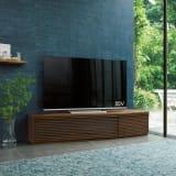 大型テレビが見やすい天然木格子コーナーテレビ台 幅165cm 右コーナー(右壁付)用 写真
