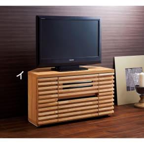 隠しキャスター付き天然木格子コーナーテレビ台幅90cm(隠しキャスター付き) 写真
