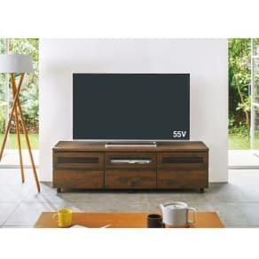 移動しやすいキャスター付きアルダー天然木 テレビ台・幅159cm 写真
