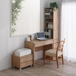 天然木調 配線すっきりデスクシリーズ デスク・幅90cm奥行45cm コーディネート例(イ)ナチュラル ※お届けはデスク・幅90cm奥行45cmです。