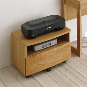 アルダー天然木 アールデザインデスクシリーズ プリンター台 写真