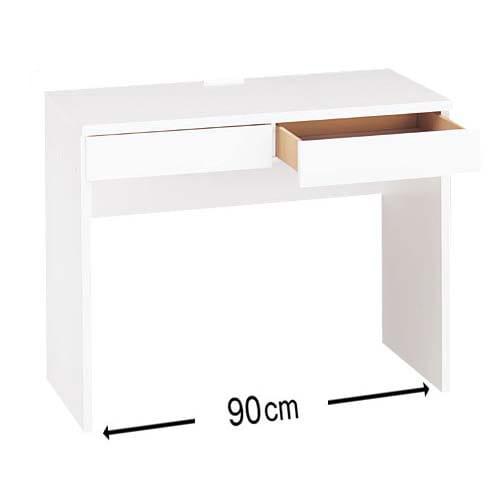 シンプルデスクシリーズ 薄型デスク 幅90cm (ア)ホワイト 天板中央奥には便利な2口コンセント(計1500W)付き。