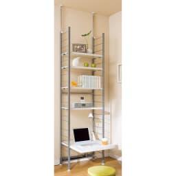 突っ張り式高さ調節シリーズ デスクラック 幅60cm (イ)ホワイト:フロアデスクとしても!デスク上の空間も有効活用。
