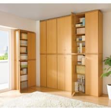 天井対応高さを選べるすっきり突っ張り書棚 奥行39cm段違いタイプ 本体高さ200cm(天井対応高さ203~213cm)
