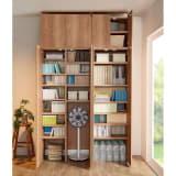 日用品もしまえる頑丈段違い書棚 ヴィンテージ木目調タイプ 上置き 幅80cm 写真