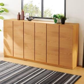 【完成品】扉が選べるオーク材のモダン本棚 板扉 幅120cm 写真