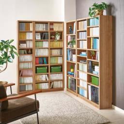 組立不要 天然木調棚板頑丈本棚 奥行29cm 壁一面を本棚にできる、壁面収納書棚です。