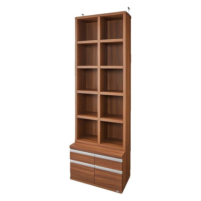 【完成品】重厚感のあるがっちり本棚シリーズ チェスト付き 幅75 天井対応高さ236~246 奥行45cm (ア)ダークブラウン