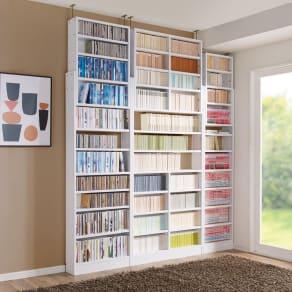 1台で壁いっぱいに本を収納!本好きのための壁面つっぱり本棚 本体幅60奥行17cm 写真