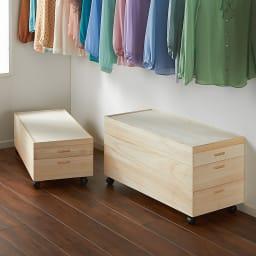 【ローチェスト】総桐衣装ケース 幅95.5cmタイプ 3段(浅1深2) ※写真は(左)幅95.5cm・2段(浅1深1)タイプ、(右)幅95.5cm・3段(浅1深2)タイプです。