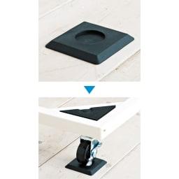 耐荷重約150kg ステンレス洗濯機置き台【洗濯機設置台】 床を傷つけない6.5cm角の防振パッド付き。