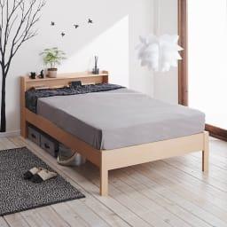 角あたりのない細すのこベッド 棚付き フレームのみ マットレス使用イメージ